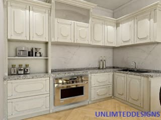 RUSTIC KITCHEN WITH WHITE LAMINATES by unlimteddesigns/bansal designs Rustic