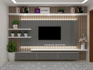 painel para tv : Salas de estar  por CASAGRANDE ARQUITETURA