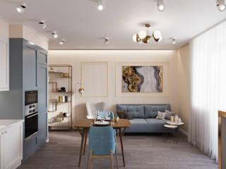 Квартира 57 кв.м. в стиле эклектика ЖК на Симоновском.: Гостиная в . Автор – Студия архитектуры и дизайна Дарьи Ельниковой