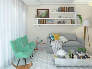 Sala de estar e jantar para um jovem casal Salas de estar modernas por Jéssika Martins Design de Interiores Moderno