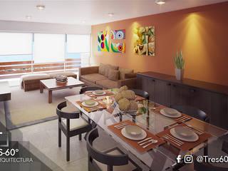 Interior Departamento Tipo: Comedores de estilo  por Tres-60 grados