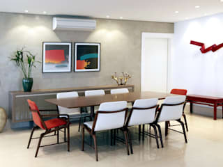 APARTAMENTO CONTEMPORÂNEO COM VISTA PANORÂMICA DA CIDADE DE SÃO PAULO Salas de jantar modernas por Adriana Scartaris: Design e Interiores em São Paulo Moderno