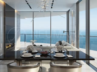 Apartments in Aurora, Miami. Квартира в Aurora, Miami.: Гостиная в . Автор – Марина Анисович, студия NEUMARK