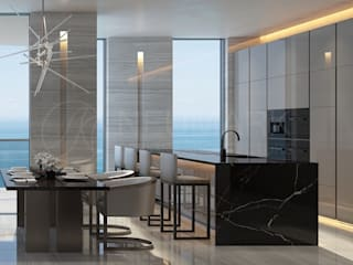 Apartments in Aurora, Miami. Квартира в Aurora, Miami.: Кухни в . Автор – Марина Анисович, студия NEUMARK