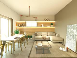 andrea-bendinelli Modern living room Concrete Brown