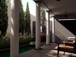 Foyer alexander and philips Balkon, Beranda & Teras Klasik Kayu Brown
