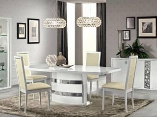 salon i jadalnia w kolorze białym z elementami Glamour od ASmeble.pl Nowoczesny