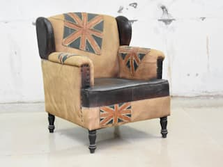 leather sofa: industrial  by MAKERS ART EXPORT ,Industrial