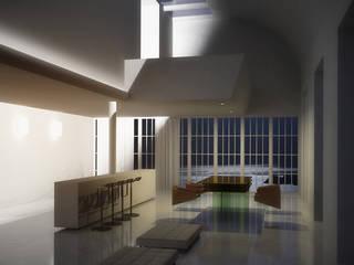 Cornici per led ad angolo soffitto EL502: Soggiorno in stile  di Eleni Lighting