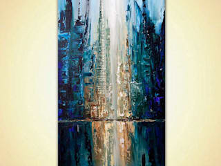 """City of Angels"" - Abstract City Painting - heavy texture, painted with a palette knife by Osnat Tzadok:   by OSNAT FINE ART"