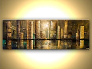 """Downtown"" - Mixed media abstract art by Osnat Tzadok:   by OSNAT FINE ART"