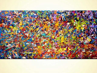 """20 Millions Things To Do"" -  colorful painting on canvas, textured painting by Osnat Tzadok :   by OSNAT FINE ART"