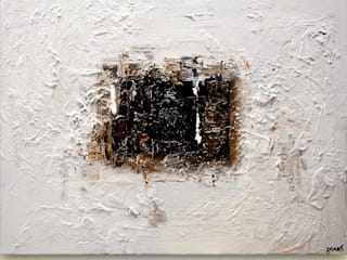 """The Door"" - white black abstract painting by Osnat Tzadok:   by OSNAT FINE ART"