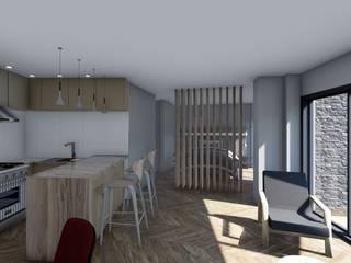 Monoambiente - diseño interior: Cocinas de estilo escandinavo por Triad Group
