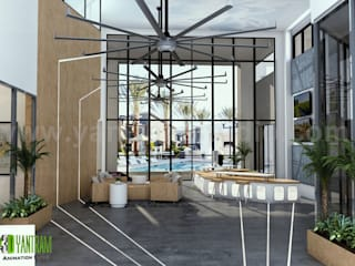 Interior Rendering of Club House Lobby View Design Ideas by Yantram Architectural Planing Companies, San Francisco - USA:   by Yantram Architectural Design Studio