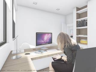 3D view OGGOstudioarchitects, unipessoal lda Study/office Wood White