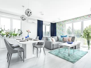 Kontrasty: styl , w kategorii Salon zaprojektowany przez FAJNY PROJEKT