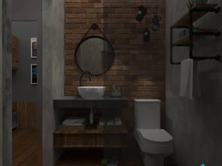 Maquete Eletrônica - Banheiro: Banheiros  por Jac Ferreira Arquitetura e Design
