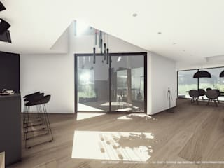 Double high ceiling area in house A Modern Living Room by OGGOstudioarchitects, unipessoal lda Modern