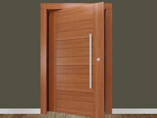 Porta maciça envernizada (externa) por Portas Jaraguá Rústico