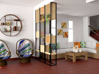 Vista del centro de entretenimiento hacia el estar de Qbico Design Minimalista Madera maciza Multicolor