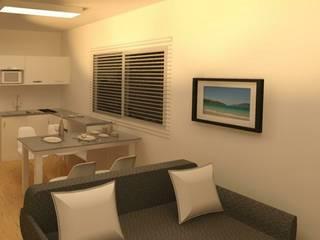 Projeto Shaft Salas de estar ecléticas por TAFS interiores e 3D Eclético
