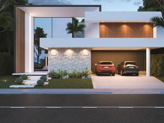 fachada: Casas familiares  por BOULEVARD ARQUITETURA