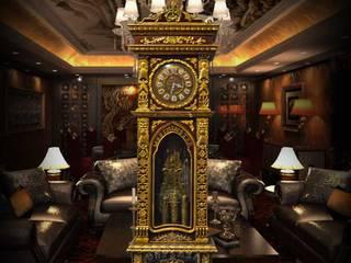 Đồng hồ cây nhập khẩu Đức kiểu cổ DH22 vỏ gỗ gụ mạ vàng:   by Cửa hàng bán đồng hồ cây gỗ cao cấp ở Hà Nội