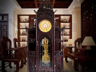 Đồng hồ cây gỗ gụ DH41 mái chùa kiểu lối cổ nhập Pháp mạ vàng:   by Cửa hàng bán đồng hồ cây gỗ cao cấp ở Hà Nội