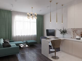 Квартира 63 кв.м.  в современном стиле в ЖК Континенталь.: Гостиная в . Автор – Студия архитектуры и дизайна Дарьи Ельниковой