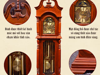 Mẫu đồng hồ cây gỗ hương đỏ trang trí phòng khách Cửa hàng bán đồng hồ cây gỗ cao cấp ở Hà Nội Living roomTV stands & cabinets