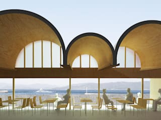 交流施設O community hall O: 平野崇建築設計事務所 TAKASHI HIRANO ARCHITECTSが手掛けたレストランです。