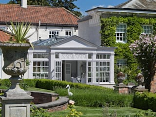 Twin roof lantern orangery homes a luxury kitchen Konservatori Klasik Oleh Vale Garden Houses Klasik