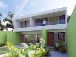 terrazas: Casas unifamiliares de estilo  por SRA arquitectos
