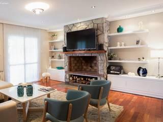 Diseño Interior Living vivienda particular: Livings de estilo moderno por PA-espacio