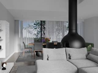 Habitação Aroeira : Salas de jantar modernas por AES - Arquitectura Engenharia e Serviços