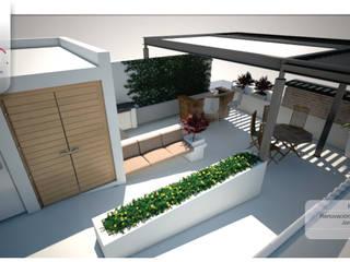 PROYECTO DE TERRAZA EN AZOTEA Y RENOVACIÓN DE FACHADA Balcones y terrazas modernos de TEAM ARQUITECTOS Moderno