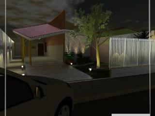 fachada principal da CASA A\R: Casas familiares  por Aúra Arqstudio