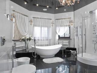 Ванная комната в черно-белых тонах в стиле ар-деко от Андреевы.РФ
