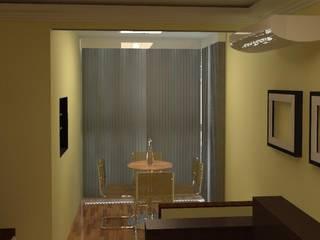 Sala e Varanda Pintura Creme e Móveis em tom de Madeira e Branco por TAFS interiores e 3D Moderno