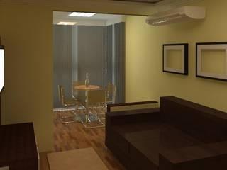 Sala e Varanda Pintura Creme e Móveis em tom de Madeira e Branco Salas de estar clássicas por TAFS interiores e 3D Clássico