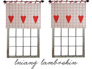 Drewniany Guzik Puertas y ventanasCortinas Lino Rojo