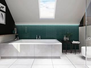 Łazienka z wanną i prysznicem na poddaszu Nowoczesna łazienka od PROJEKTY WNĘTRZ Laura Kozak Nowoczesny
