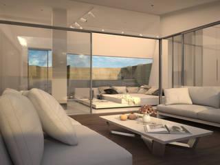 Diseño del proyecto de una vivienda moderna:  Santa María 23: Salones de estilo  de AVANTUM