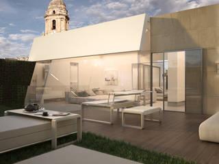 Diseño del proyecto de una vivienda moderna:  Santa María 23: Terrazas de estilo  de AVANTUM