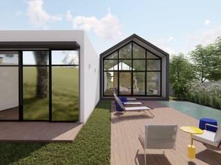 fachada fundos e piscina: Casas familiares  por Bonomiveras Arquitetura Urbanismo e Interiores
