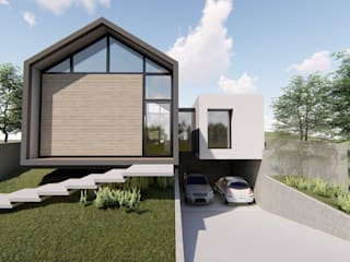 fachada principal com garagem subtérrea: Casas familiares  por Bonomiveras Arquitetura Urbanismo e Interiores