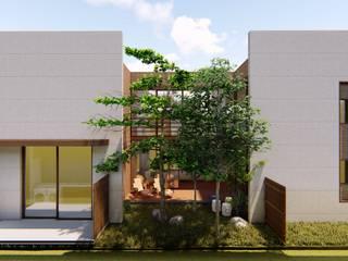 fachada lateral e pátio: Casas familiares  por Bonomiveras Arquitetura Urbanismo e Interiores