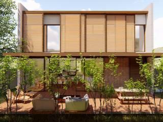 fachada fundos e painéis deslizantes: Casas familiares  por Bonomiveras Arquitetura Urbanismo e Interiores