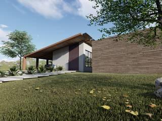 fachada principal: Casas do campo e fazendas  por Bonomiveras Arquitetura Urbanismo e Interiores